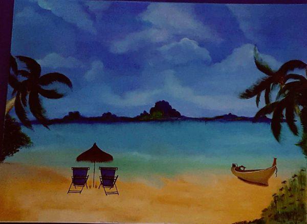 Realistic-cozy-beach-setting